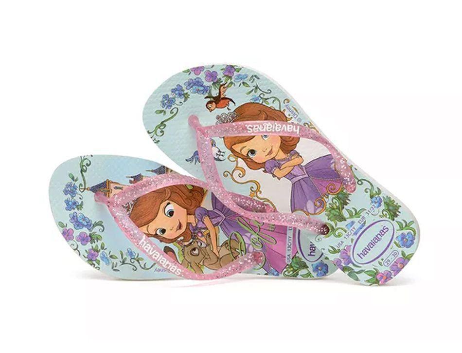 bdc7f7c4ec9687 Chinelo infantil para meninas com estampa da princesa Sofia Havaianas