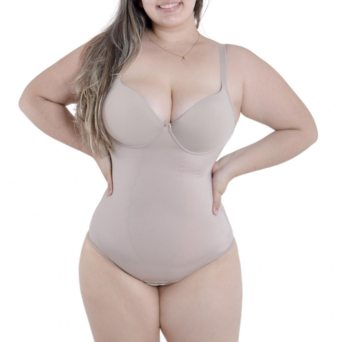 Cinta body modeladora com compressão e bojo Plus Size Vi Lingerie