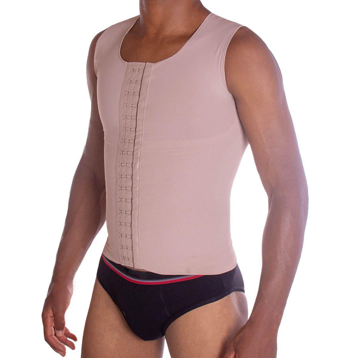 Cinta modeladora masculina slim compressão melhora postura colete Pliè