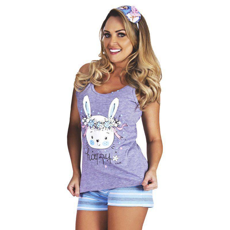 267aee8d8cad06 Conjunto Pijama de Verão Regata e Short Doll Com Listras Victory