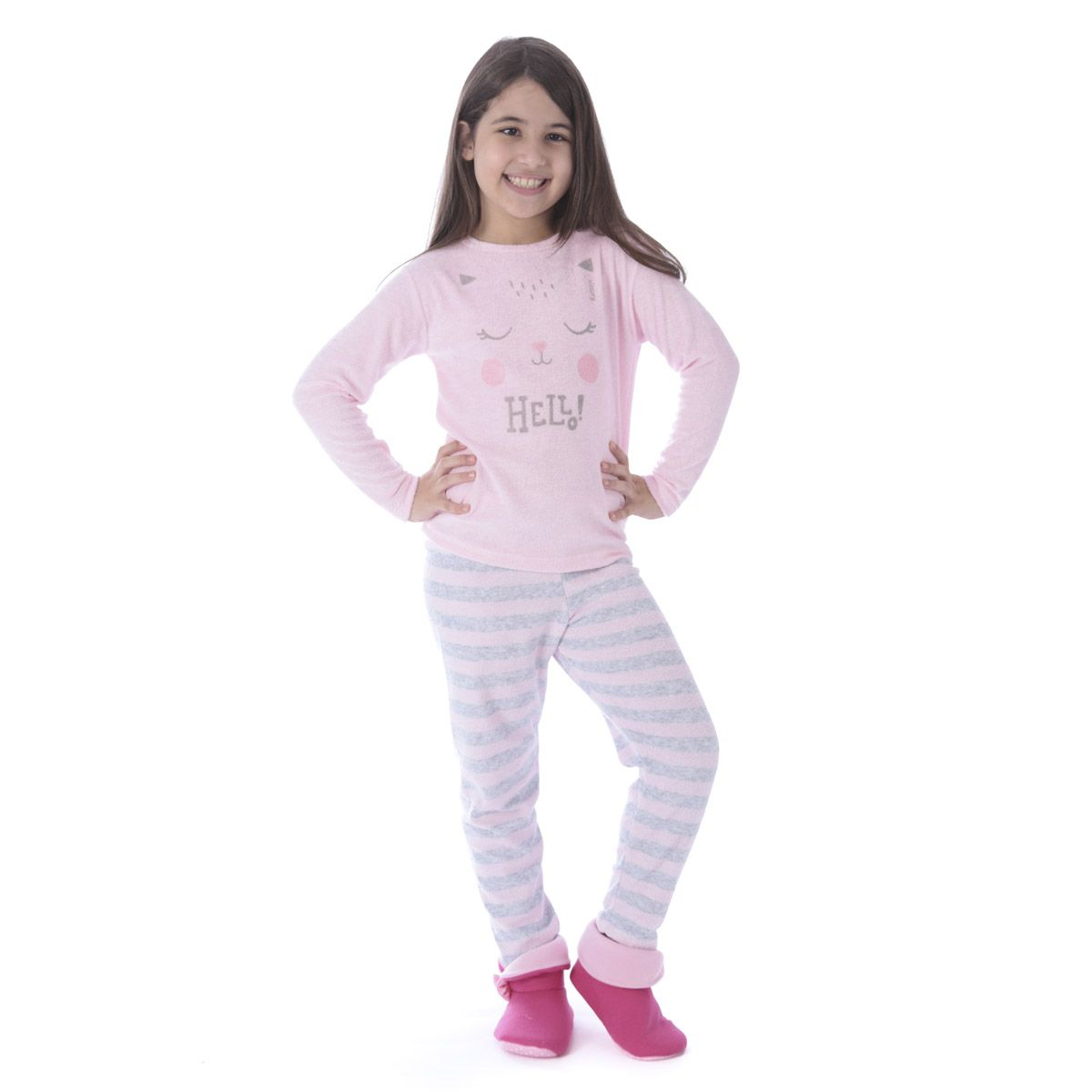 Pijama de inverno infantil para meninas LISTRADO Victory