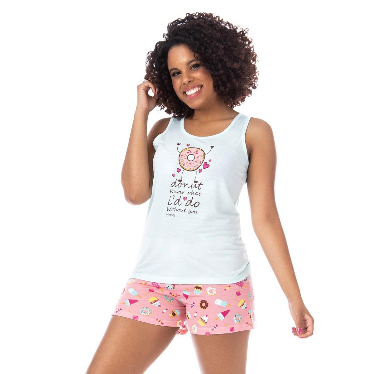 Pijama feminino short doll e regata para o verão Victory