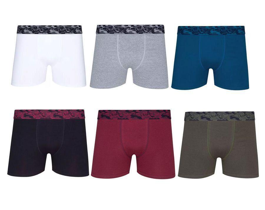 Cueca algodão boxer masculina adulto Kit 10 Lupo