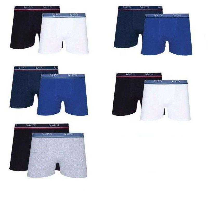 Cuecas Boxer LUPO kit com 10 Cuecas em Algodão