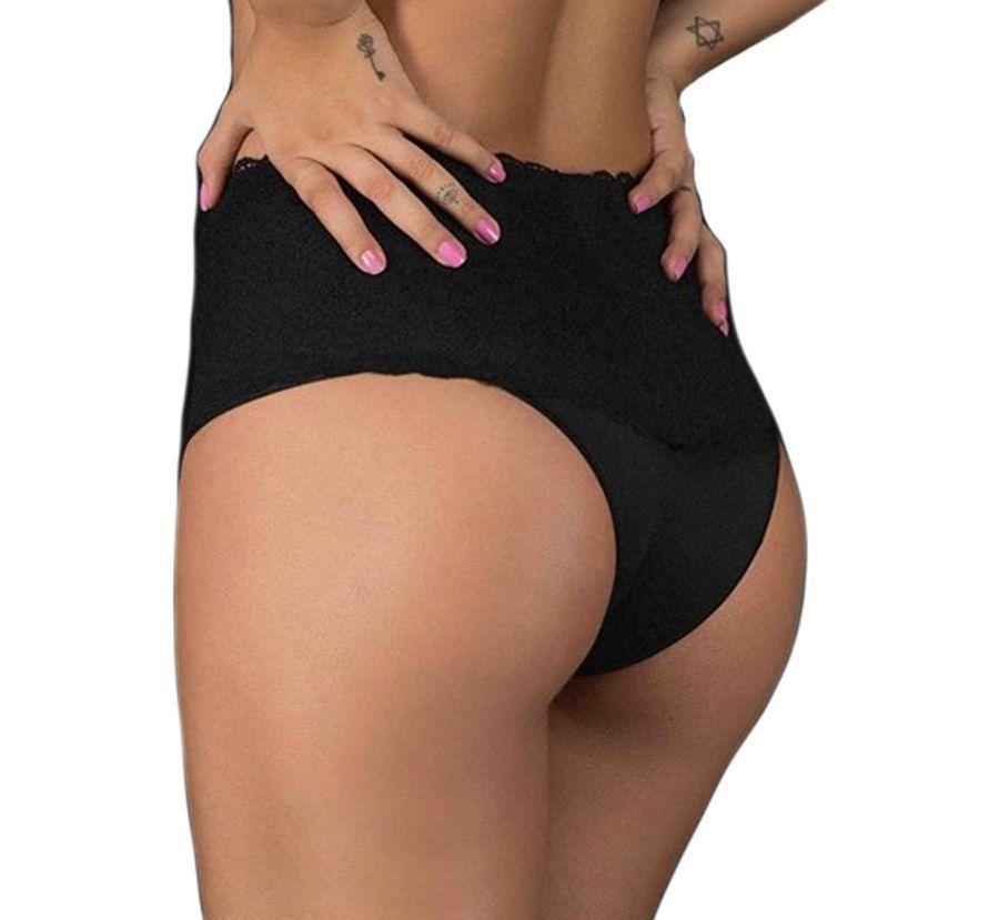 Calcinha tanga feminina cintura alta com renda em microfibra Nayane Rodrigues --