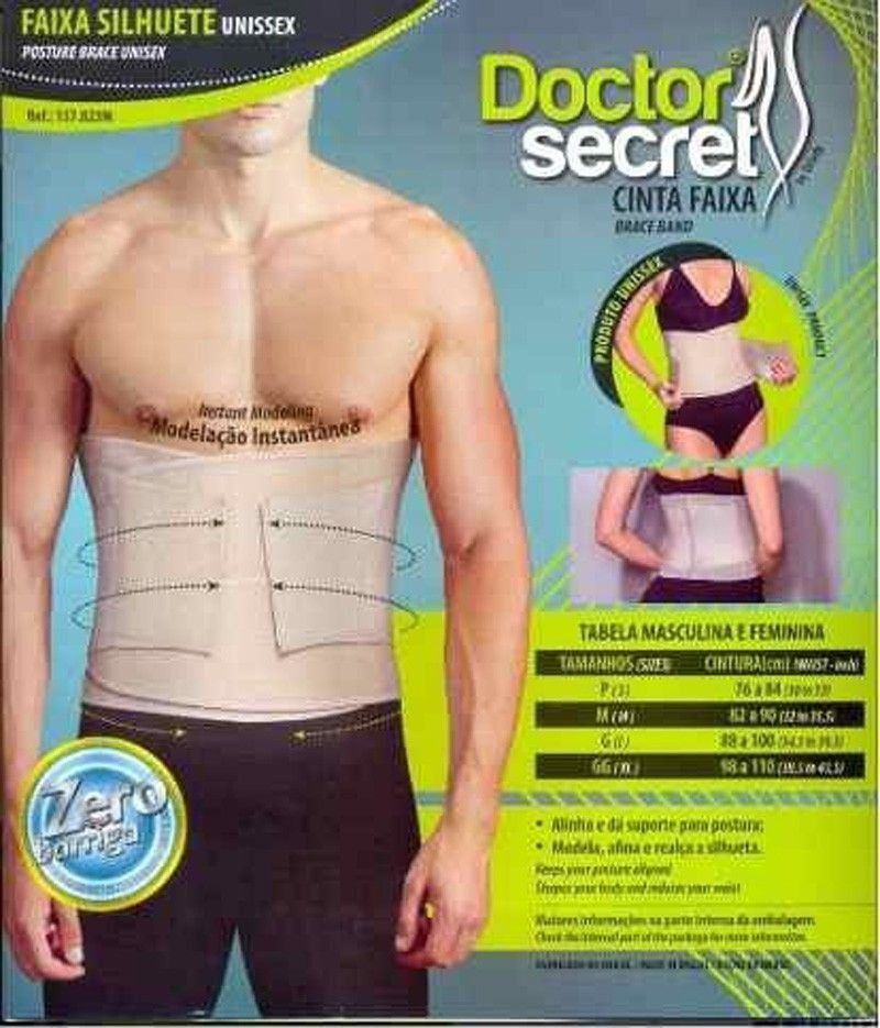 KIT 3 Cinta modeladora emagrecedora unissex Doctor Secret