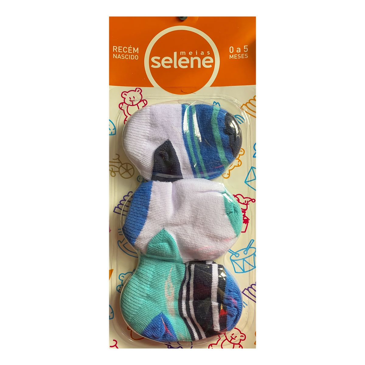 Kit C/3 pares de meias recém nascido de menino Selene