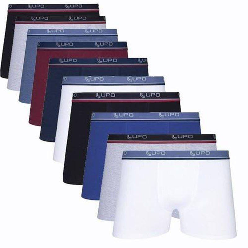 Kit Com 10 Cuecas Boxer Cotton Confort  Lupo