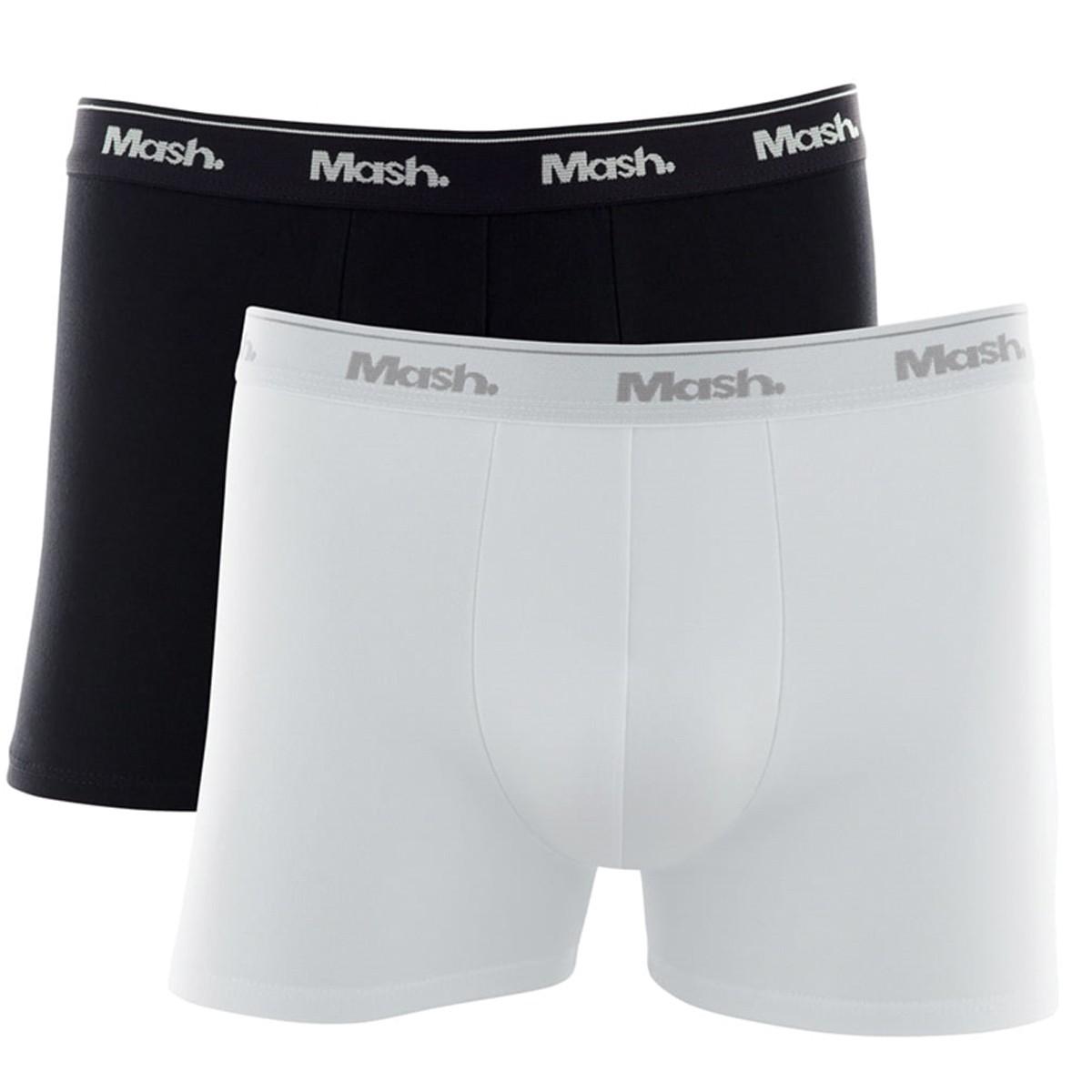 KIT com 2 Cuecas plus size modelo boxer lisa em algodão Mash