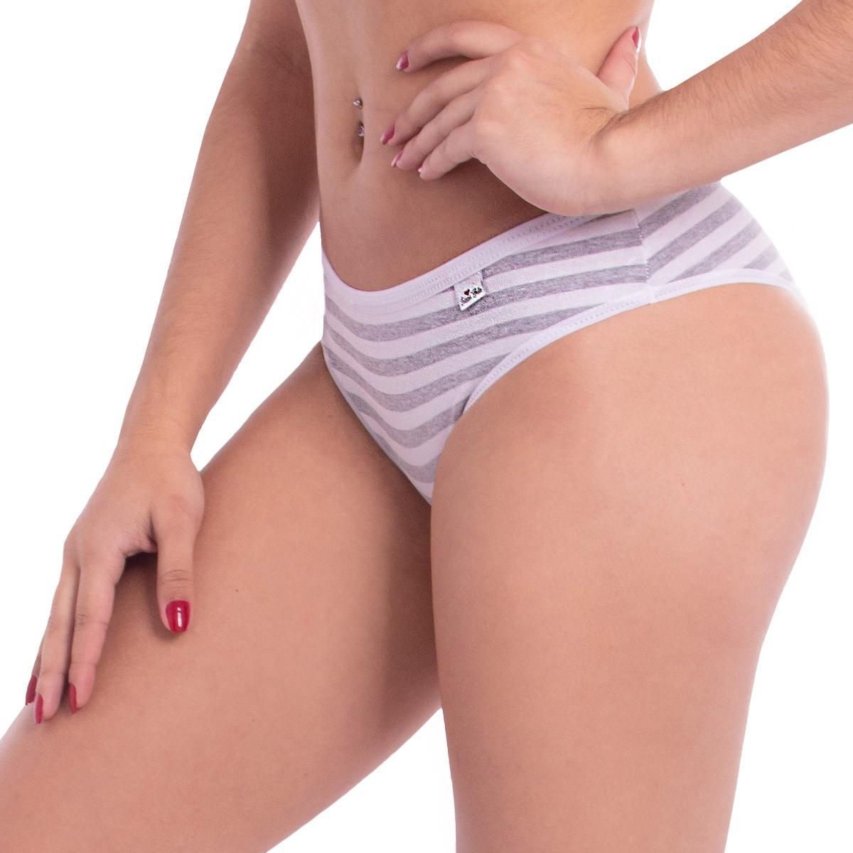 KIT com 3 Calcinhas modelo tanga em algodão estampada Intima Belle
