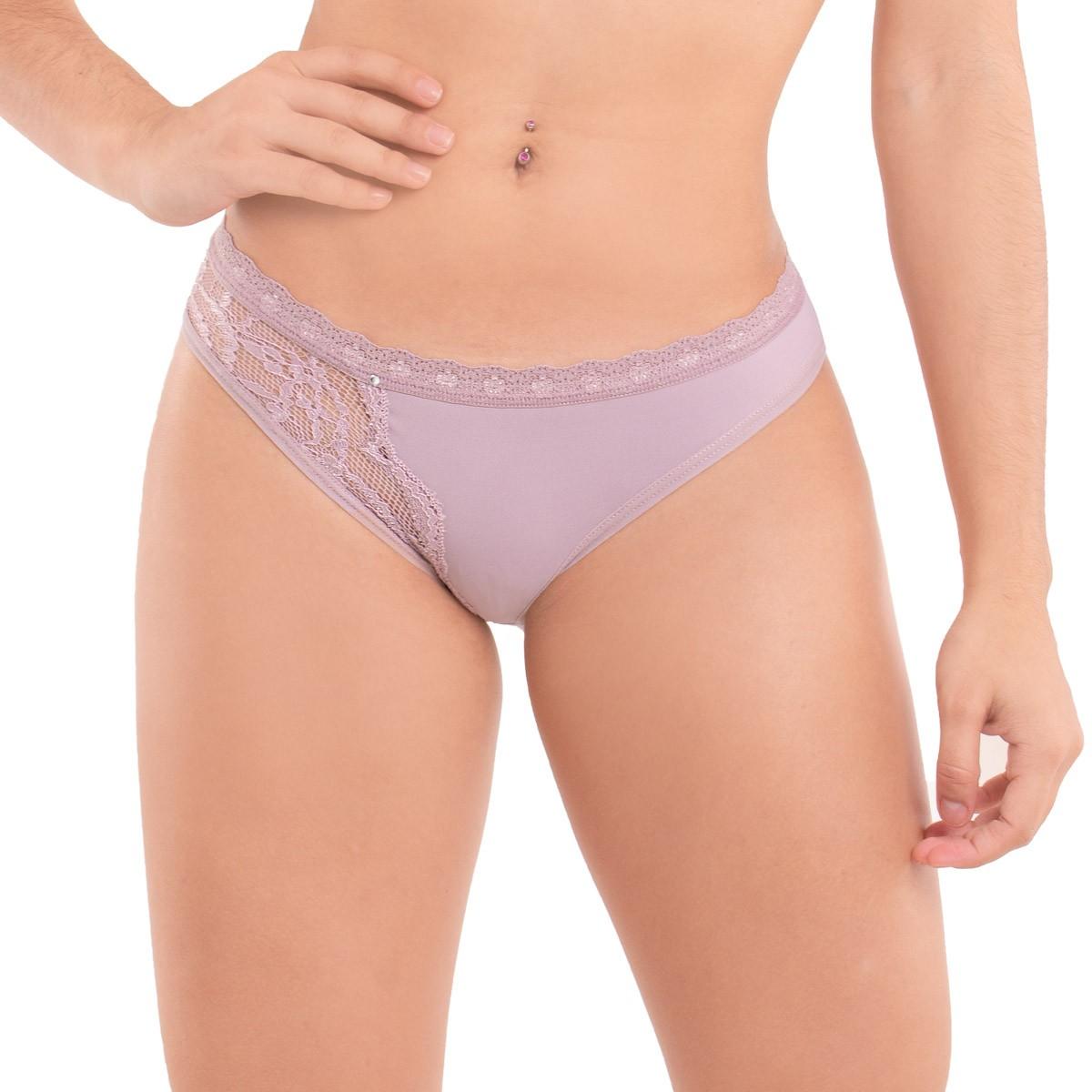 KIT com 3 calcinhas modelo tanga rendada em microfibra Diva Donna