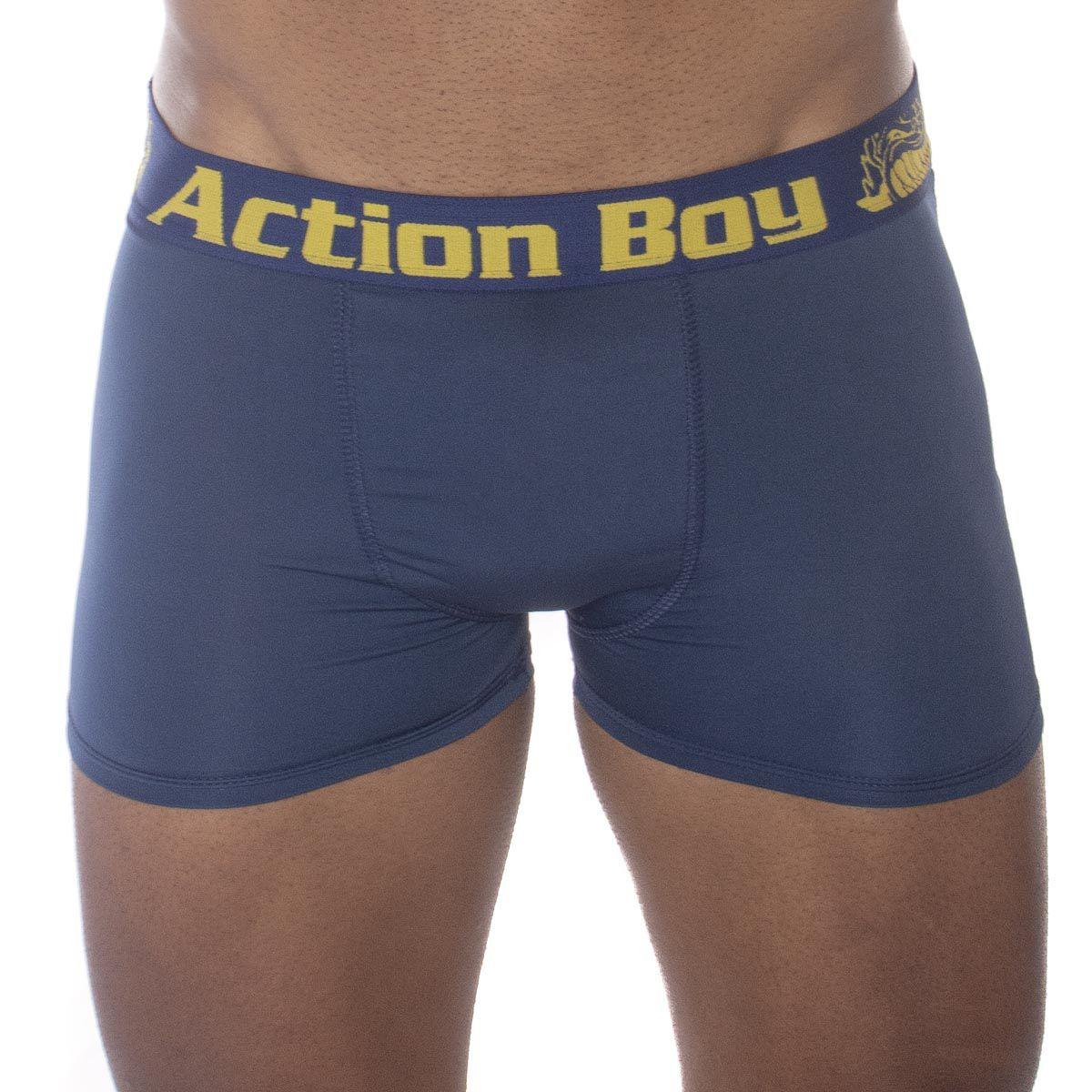 Kit com 3 Cuecas Boxer em Microfibra Lisa Action Boy