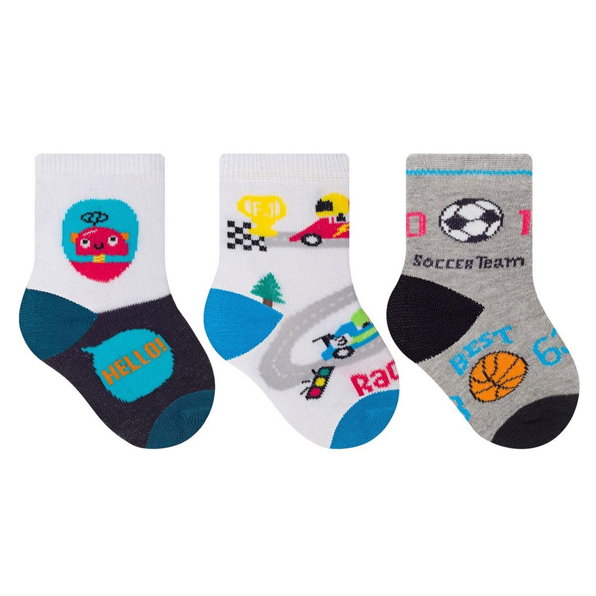 kit com 3 meias de bebê para menino Selene