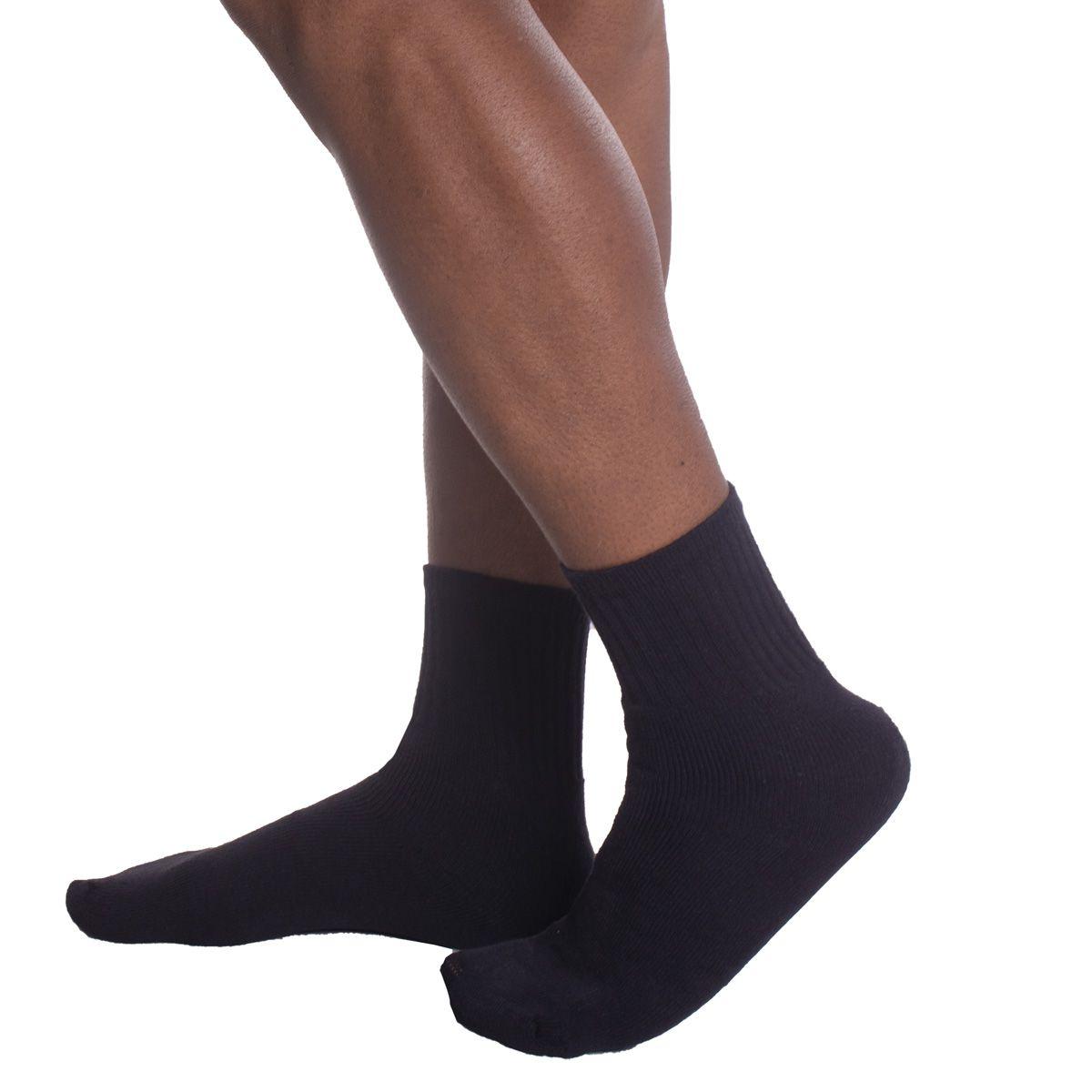 KIT com 3 pares de meias esportiva cano longo Selene