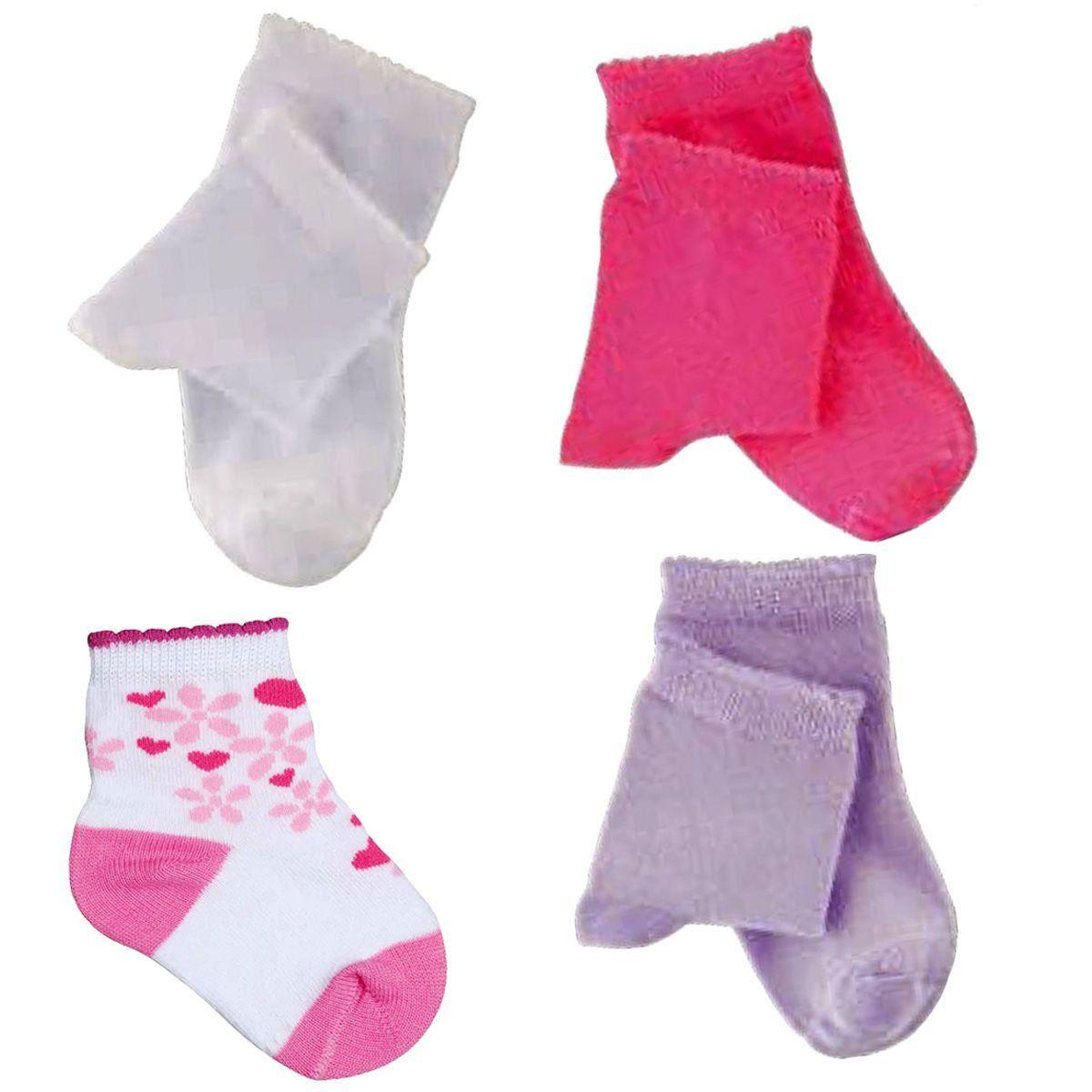 KIT com 3 pares de meias MENINA baby infantil cano curto Lupo Ref: 2000