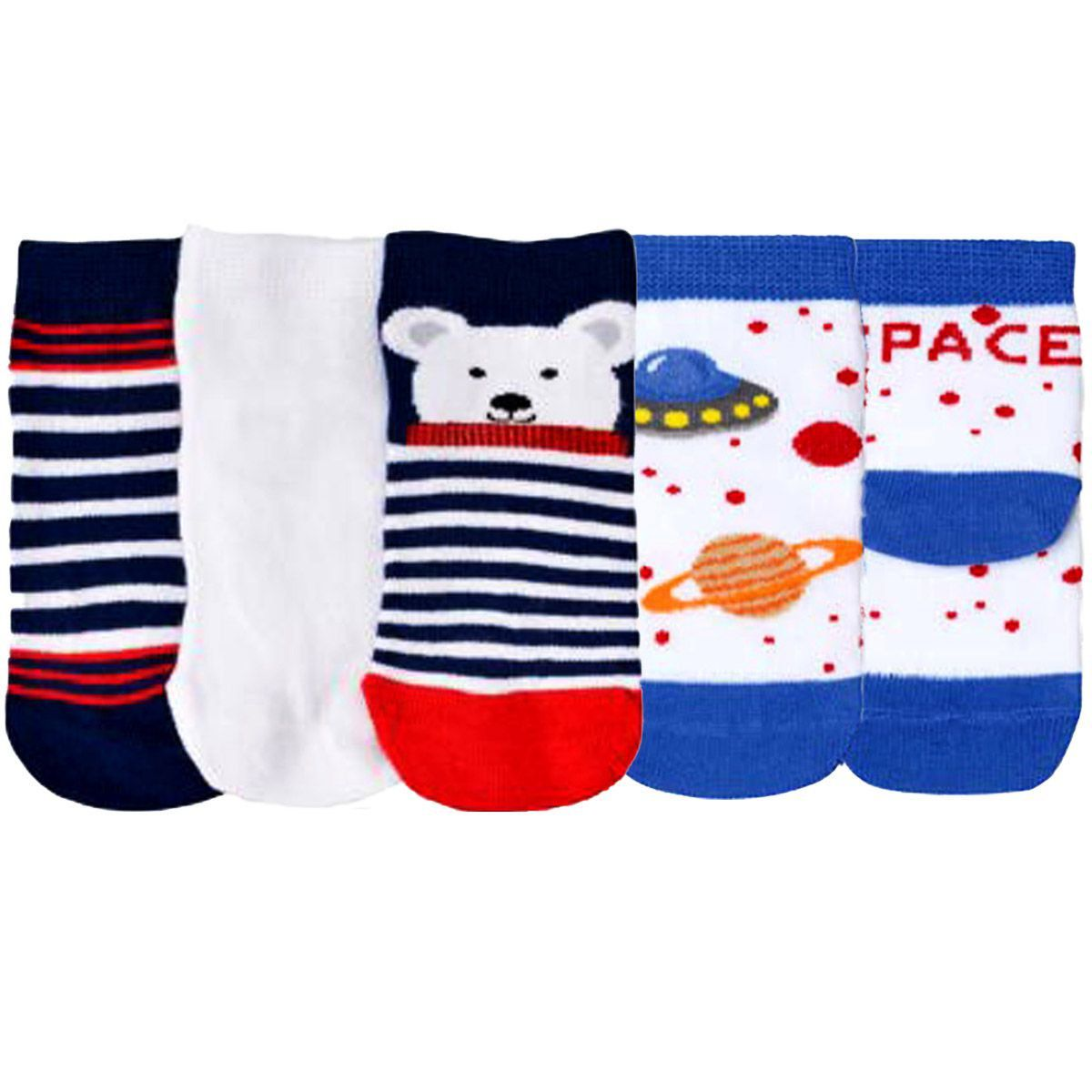 KIT com 3 pares de meias MENINO baby infantil cano curto Lupo