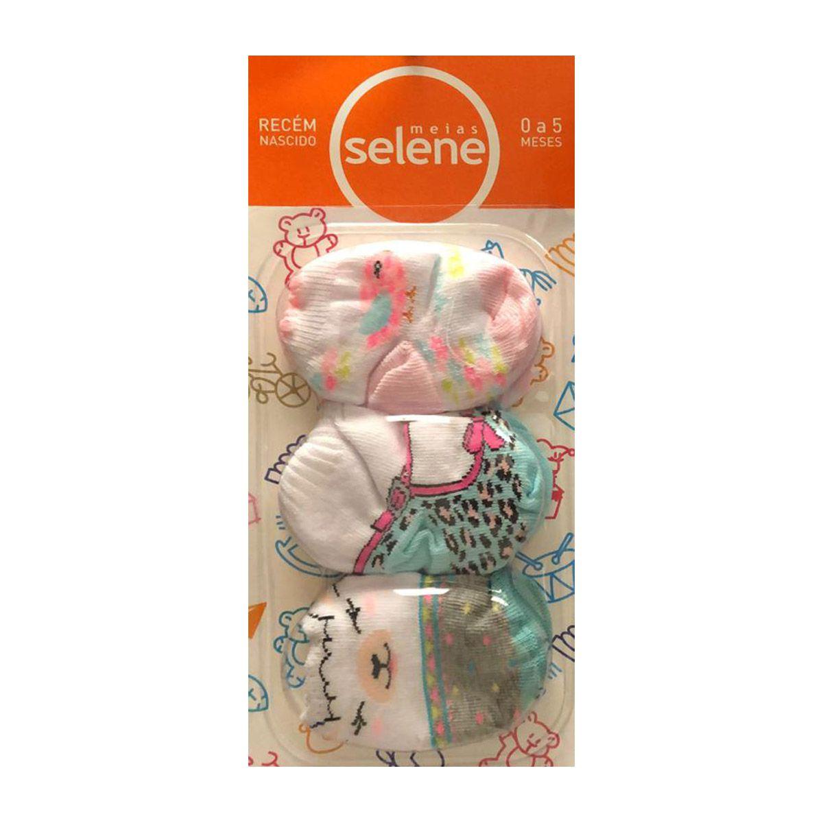 Kit com 3 pares de meias para recém nascidos de menina Selene