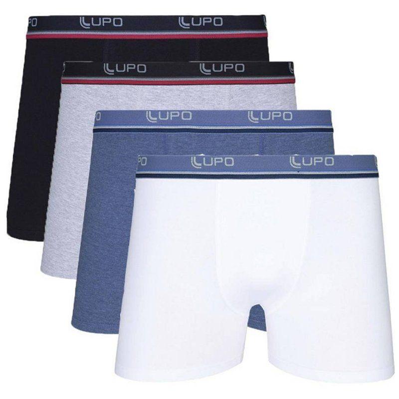 Kit Com 4 Cuecas Boxer Cotton Confort Lupo