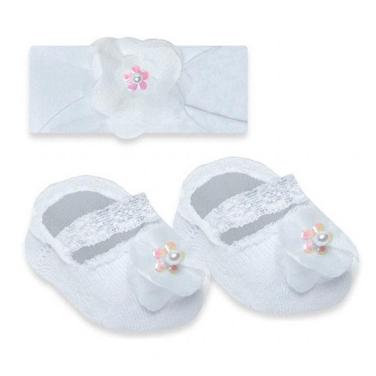 KIT com faixa e meia de bebê para menina Selene