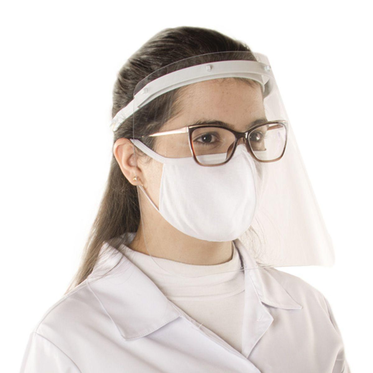 Máscara para proteção facial de acrílico transparente