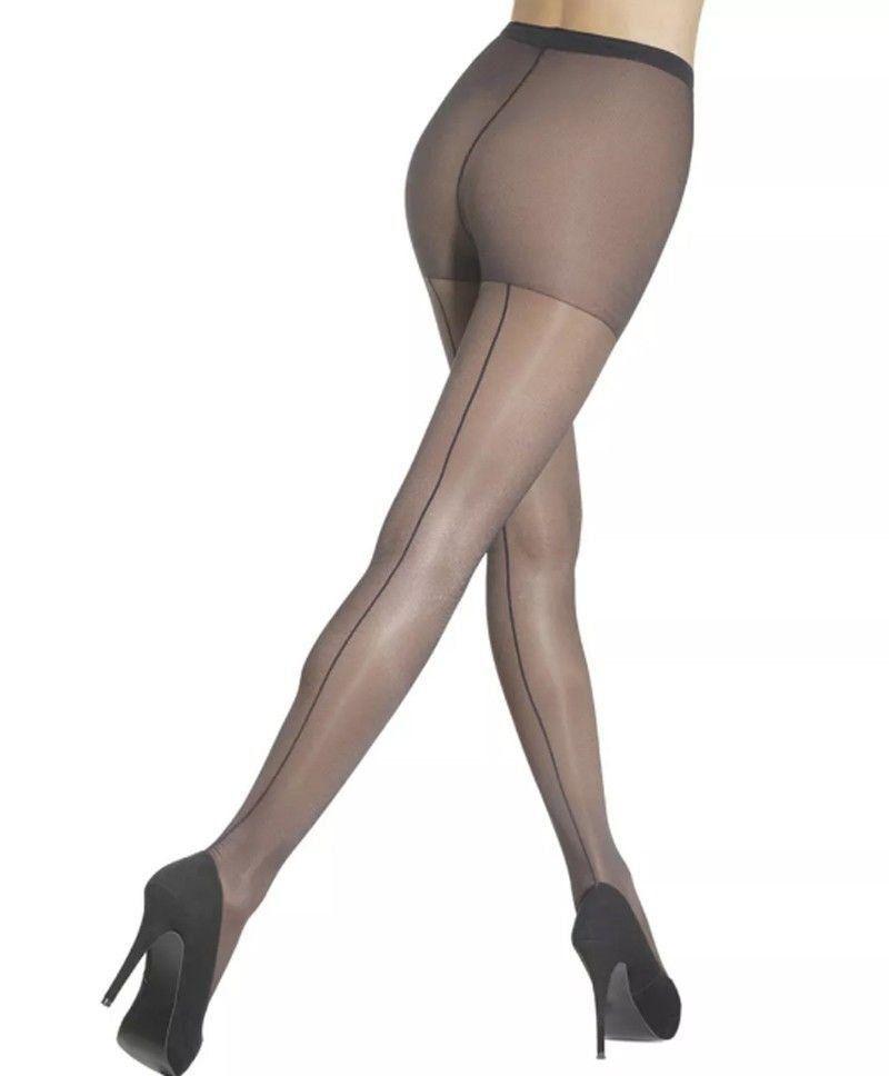 Meia calça feminina risca atrás fio 15 Loba Lupo