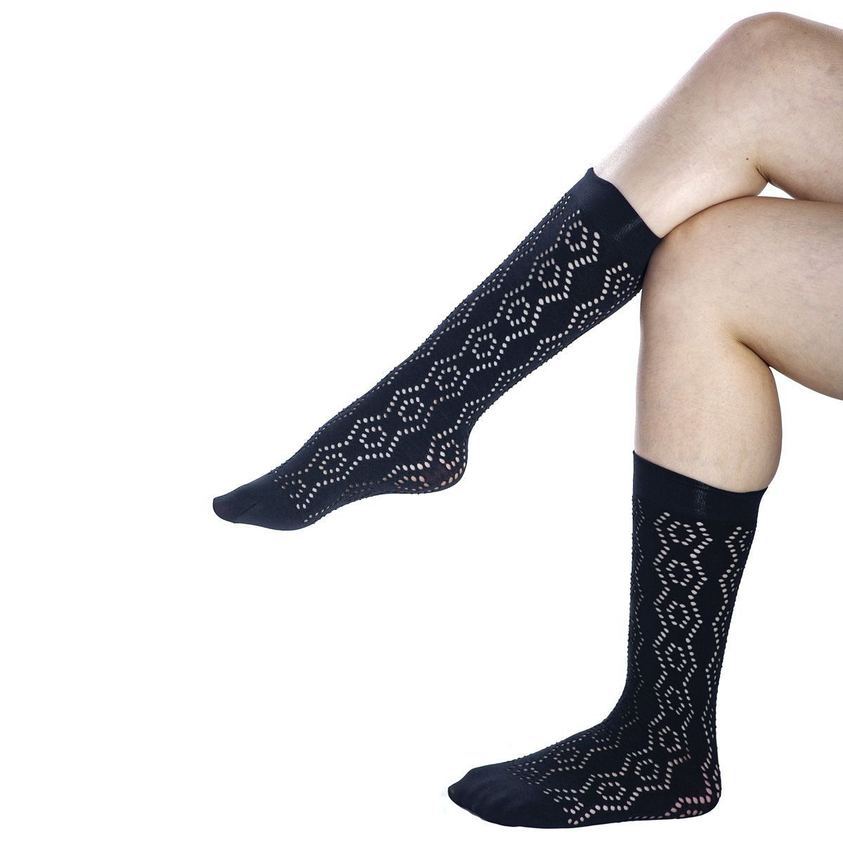 Meia feminina soquete renda preta kit 3 Loba Lupo 5542