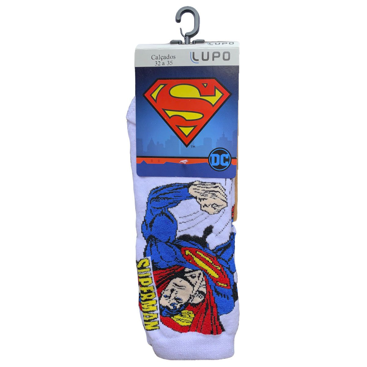 Meia Infantil Em Algodão Personagem Superman DC Lupo .