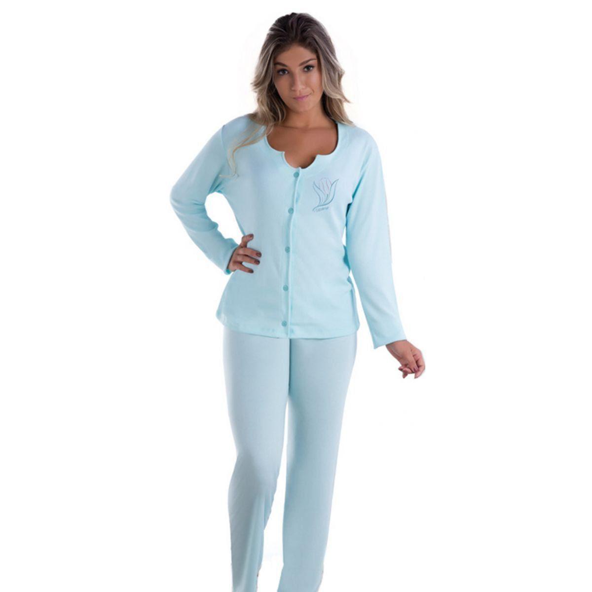 pijama inverno feminino longo aberto Victory