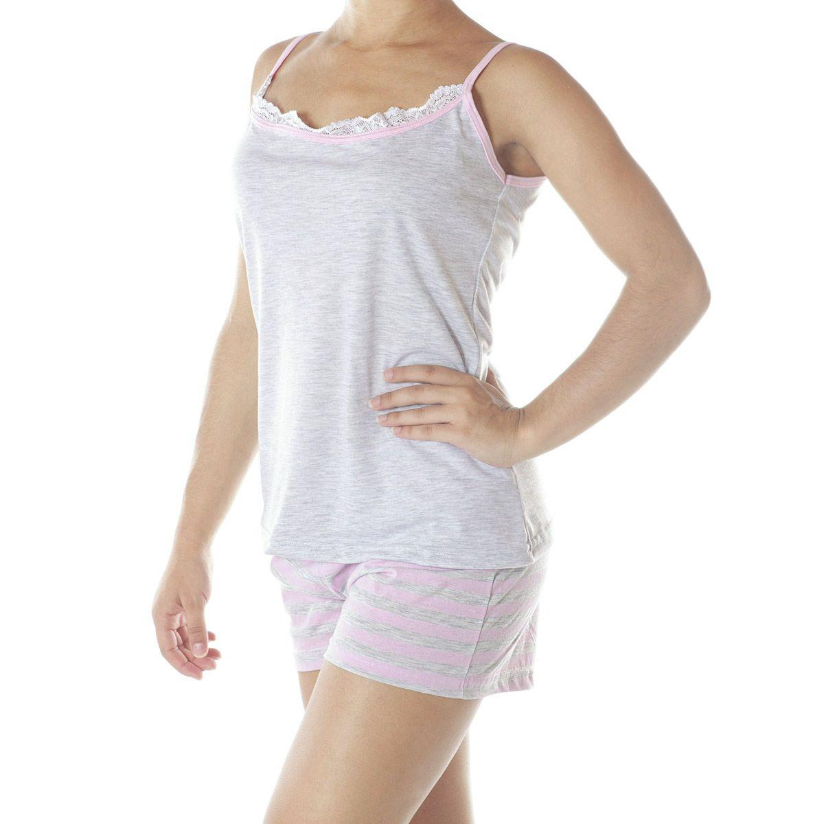 Pijama alcinha e short doll listrado de verão feminino da Victory