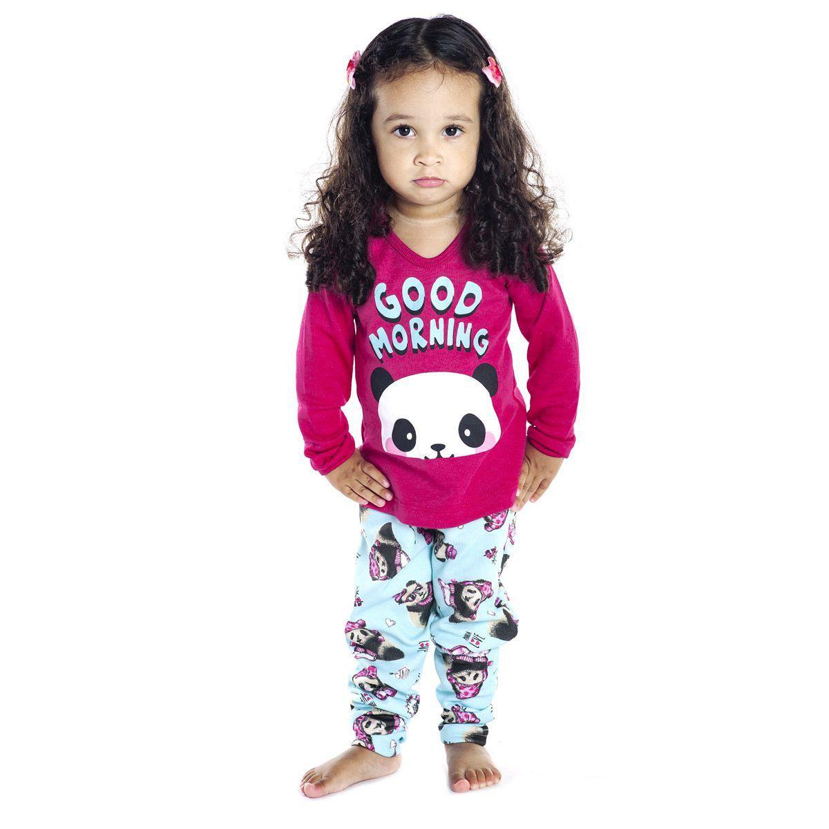 Pijama baby para meninas estampado em tecido canelado de inverno Victory
