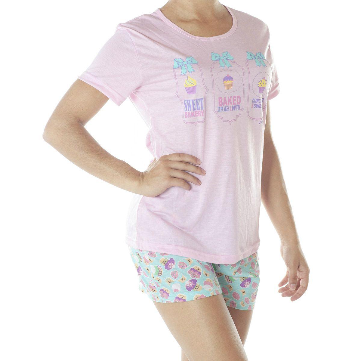 Pijama com camiseta e short doll de verão feminino da Victory