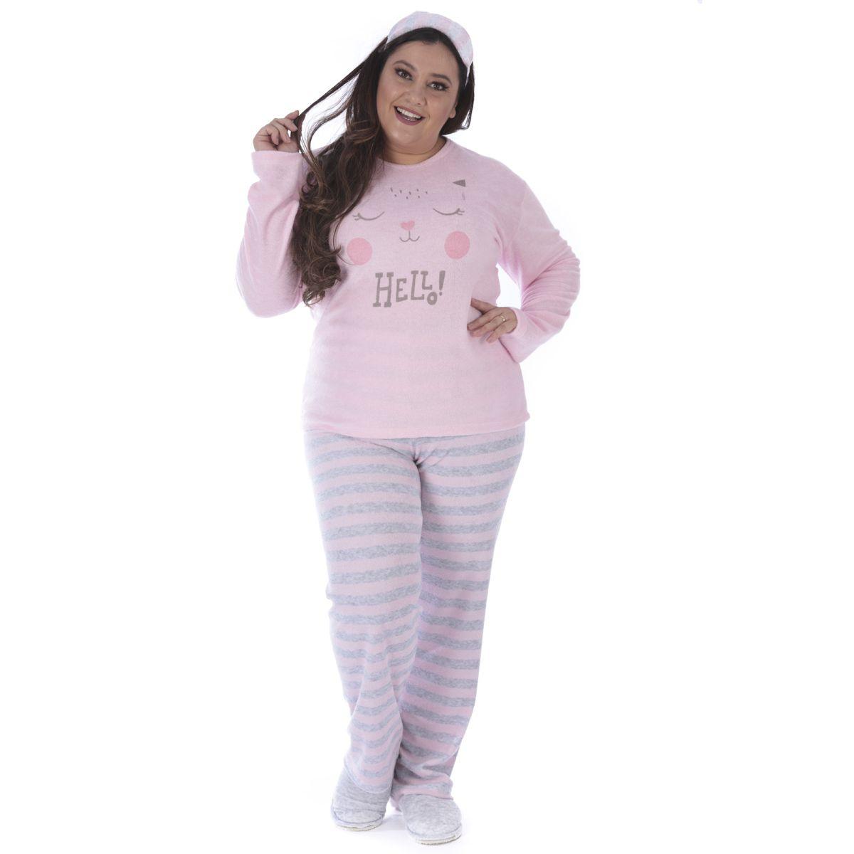 Pijama de inverno feminino plus size LISTRADO Victory