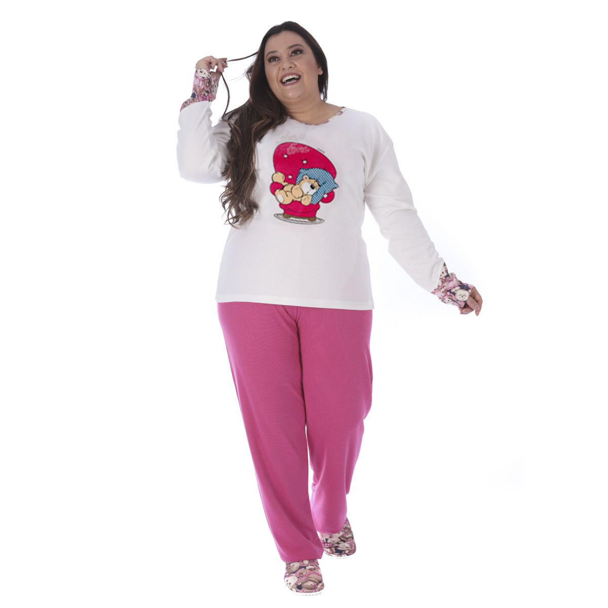 Pijama de inverno feminino Plus size Victory