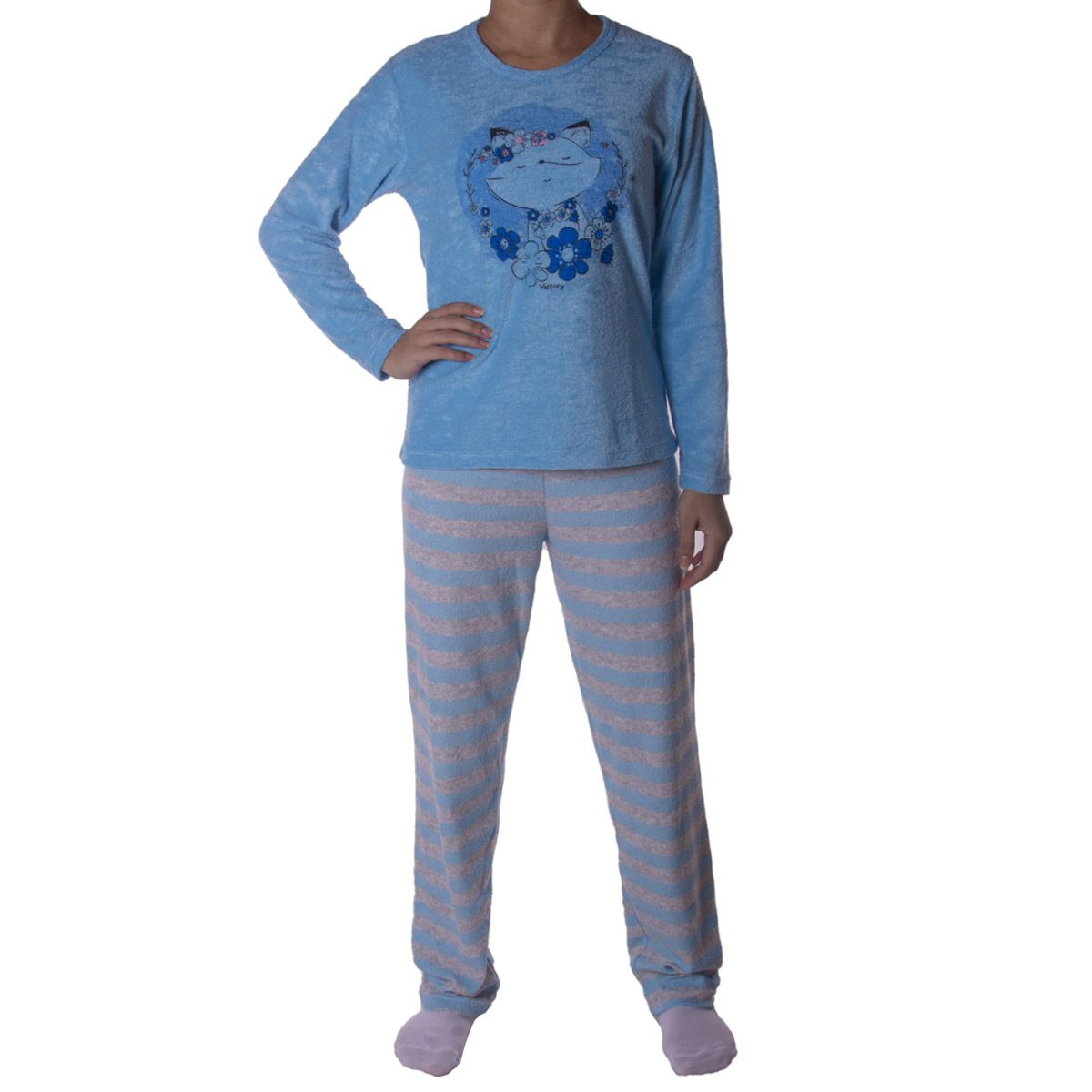 Pijama de inverno juvenil para meninas LISTRADO Victory