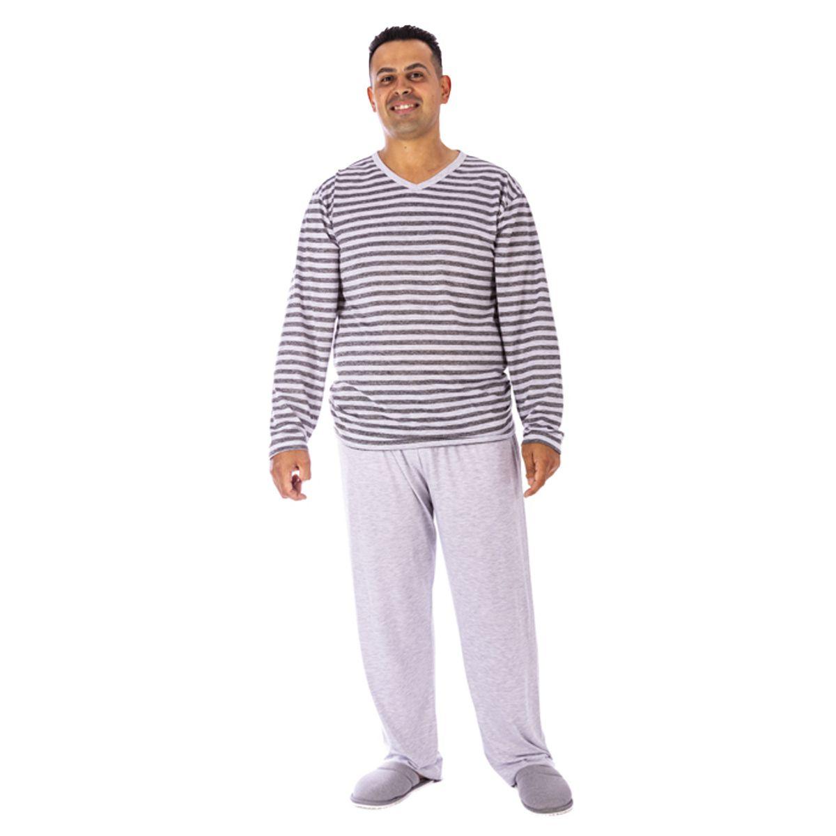 Pijama de Inverno Masculino meia malha plus size Victory
