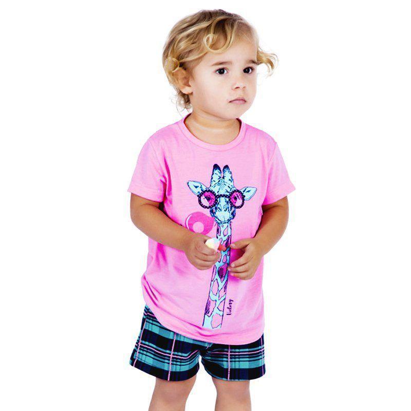 Pijama de Verão Baby Camiseta com Manga e Short Doll Victory