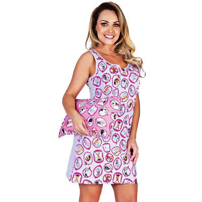 Pijama De Verão Camisola Regata Malha Estampada Victory