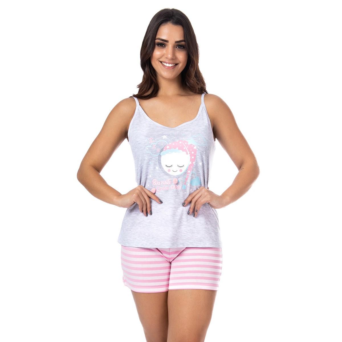 Pijama de verão feminino alcinha com pom-pom Victory