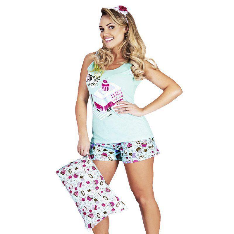 Pijama de Verão Feminino Algodão Regata e Short Doll Victory