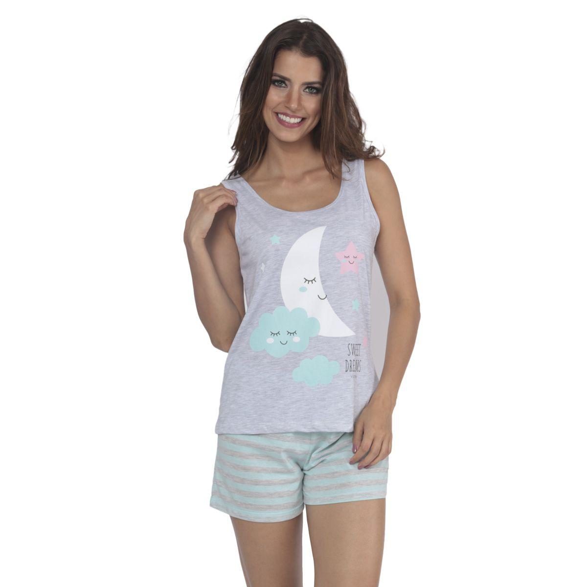 Pijama de verão feminino da Victory regata e short doll listrado