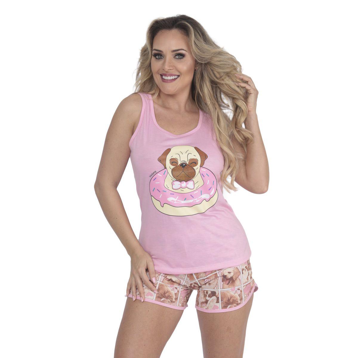 Pijama de verão feminino nadador e short doll estampados da Victory