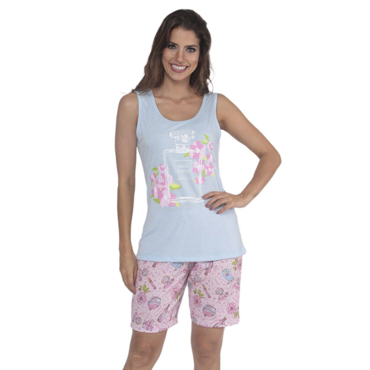 Pijama de verão feminino regata e bermuda estampados da Victory