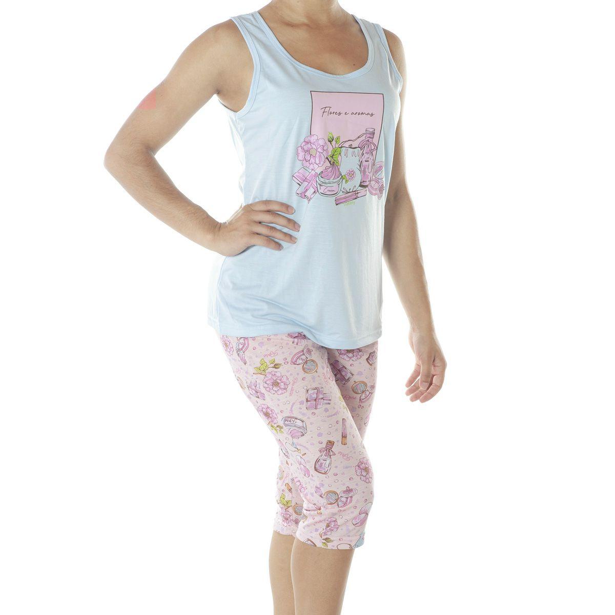 Pijama de verão feminino regata e capri da Victory