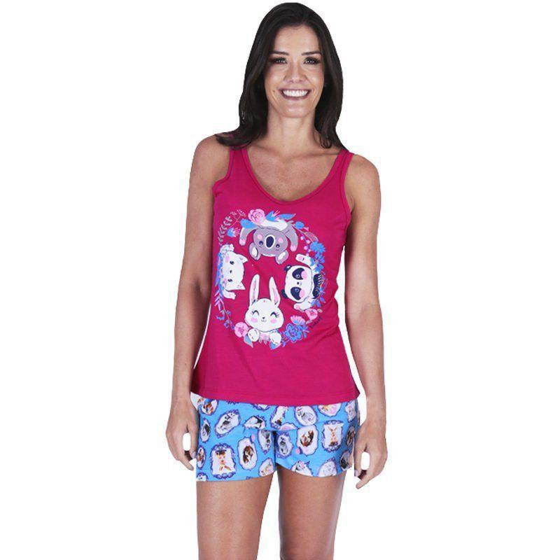 Pijama de Verão Feminino Short Doll e Regata Estampados Victory