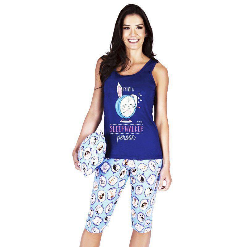 Pijama de Verão Feminino Short Pescador e Regata Victory