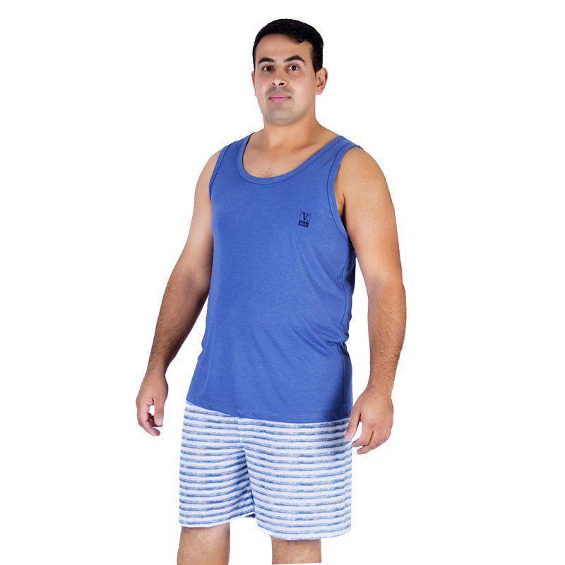 Pijama de Verão Masculino Plus Size Regata Lisa e Bermuda Listrada Victory