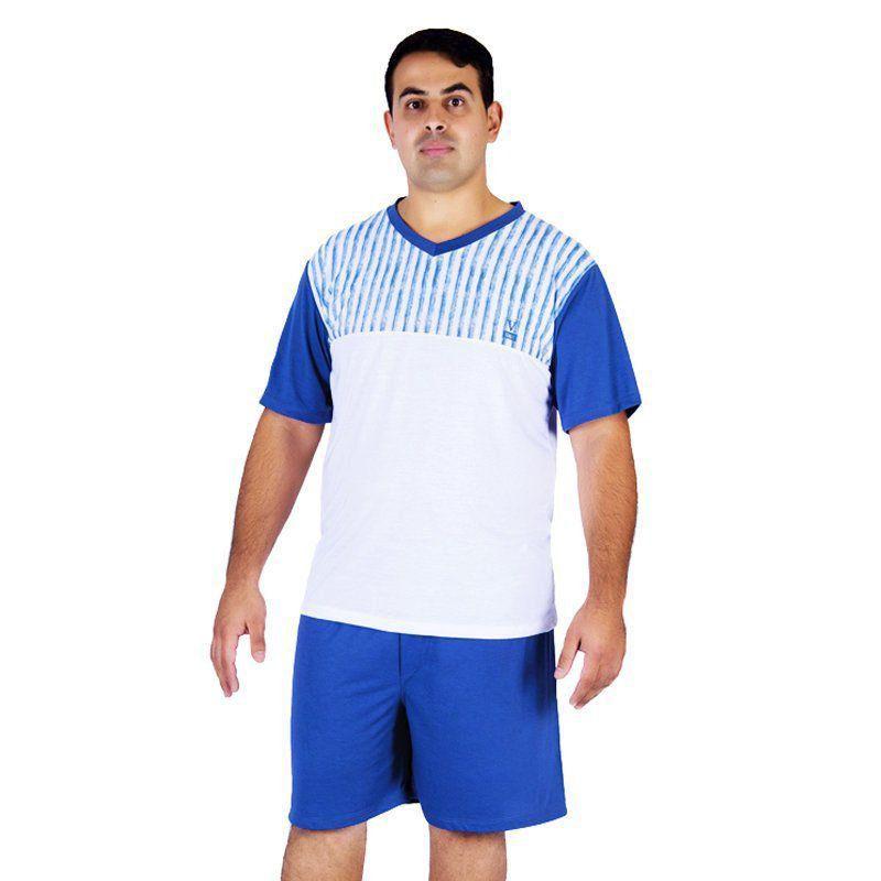 Pijama de Verão Plus Size Masculino Tradicional Camiseta e Bermuda Victory