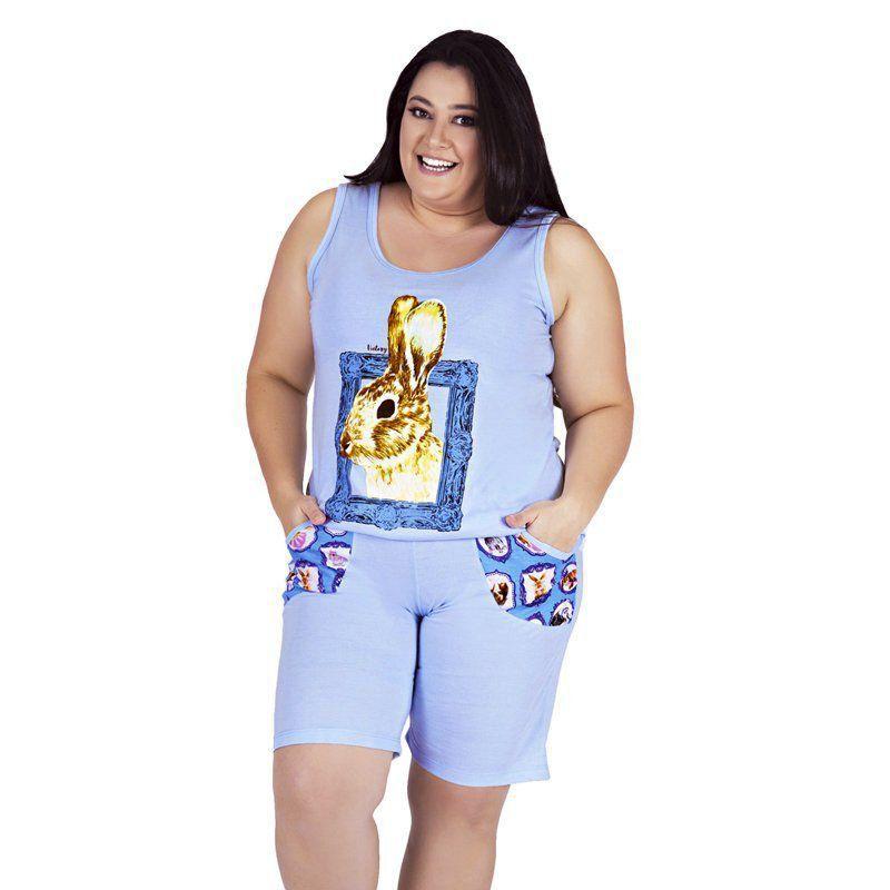 Pijama de Verão Plus Size Regata e Bermudol com Bolsos Victory
