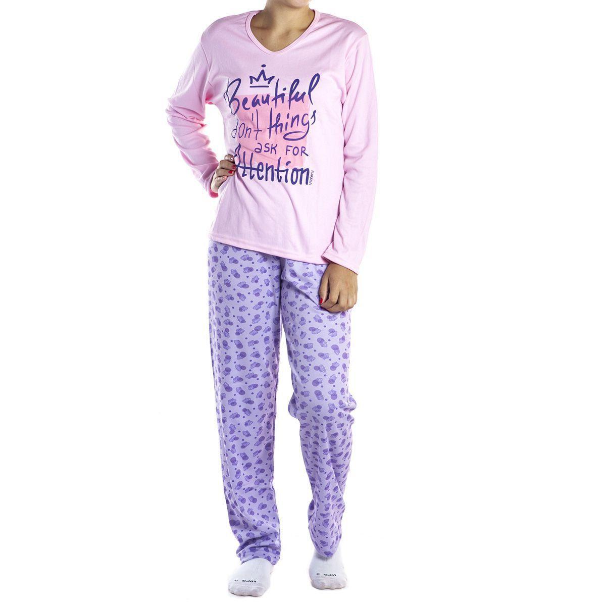 Pijama estampado de inverno feminino em tecido canelado Victory