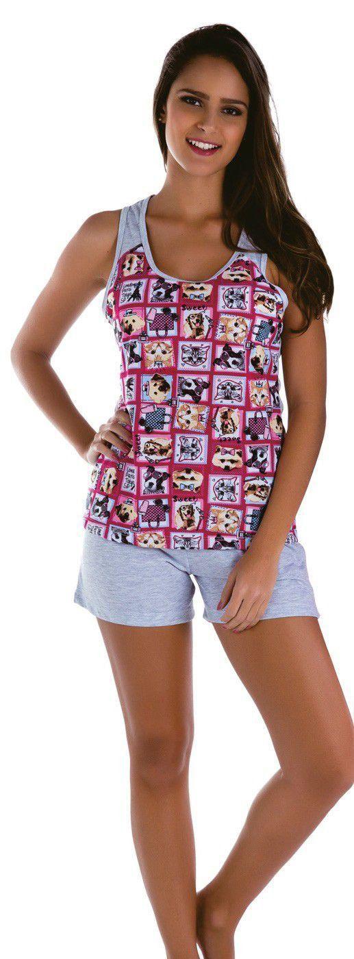 Pijama feminino calor verão curto adulto roupa dormir Victory